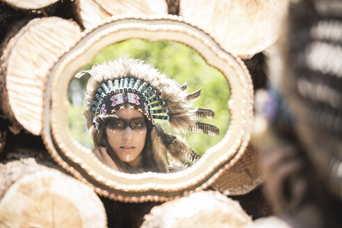 Mirror image of young woman masquerade as an Indian - ASCF000222