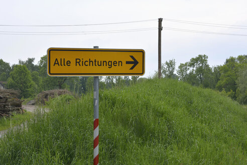 Germany, sign post at rural scene - AX000755