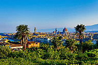 Italy, Florence, cityscape as seen from Piazzale Michelangelo - MAEF010804