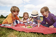 Children sitting on a blanket choosing sweets - STKF001342