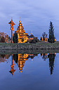 Germany, Gifhorn, lighted Russian Orthodox Church at evening twilight - PVC000469