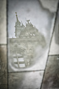 Germany, Hamburg, Townhall, reflection in puddle - ASCF000197