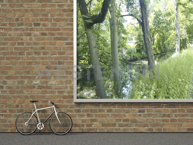 Racing cycle leaning at brick wall with billboard showing nature, 3D Rendering - UWF000558