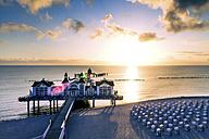 Germany, Ruegen, Sellin, sunset at pier - PUF000371
