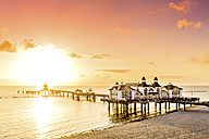 Germany, Ruegen, Sellin, sunset at pier - PUF000380