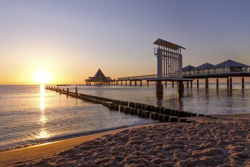 Germany, Usedom, Heringsdorf, sunrise at pier - PUF000374