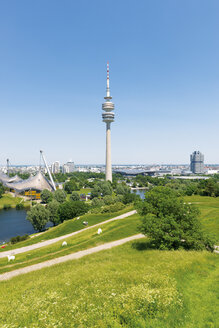 Germany, Bavaria, Munich, oympic area with TV tower, park and lake - VIF000352