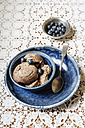 Bowl of vegan blueberry banana ice cream - EVGF001957