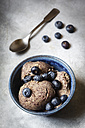 Bowl of vegan blueberry banana ice cream - EVGF001960