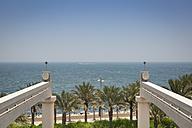 United Arab Emirates, Dubai, End of Monorail tracks right in front of persian gulf coastline - NKF000310