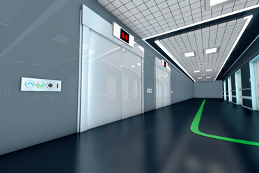 Corridor with guidance system in a modern hospital, 3D Rendering - SPCF000056