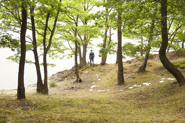 Germany, businessman walking in forest with sheets of paper on ground - MFRF000244