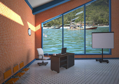 Empty office with a view, 3D Illustration - ALF000565