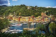 Italy, Liguria, Portofino, boats and row of houses - DIKF000141