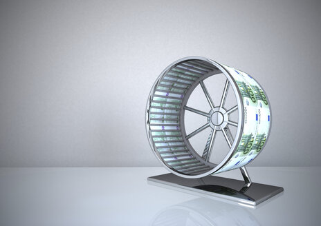 Hamster wheel with Euro notes, 3d illustration - ALF000561
