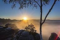 Germany, Saxony, Saxon Switzerland National Park, Elbe Sandstone Mountains at dawn - HSIF000375