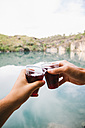 Hands of toasting men in front of a lake - ABZF000091