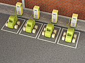 Electric Vehicle Charging Station, car park, wooden cars - UWF000566