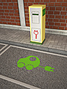 Electric Vehicle Charging Station, green car symbol on asphalt - UWF000569