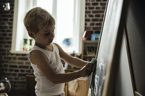 Little boy drawing on chalk board in children's room - MFF001996