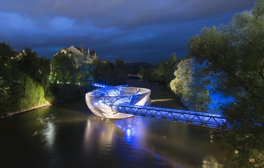Austria, Styria, Graz, Murinsel, illuminated floating platform in the middle of the Mur river - MKF000242