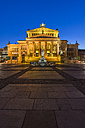 Germany, Berlin, view to lighted concert hall at Gendarmenmarkt in the evening - PVCF000483