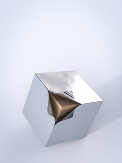 Metal cube with wooden boards inside, 3D Rendering - AHUF000020