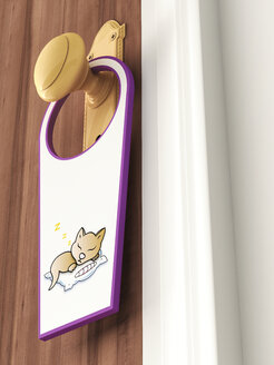 Tag with picture of sleeping cat hanging on doorknob - AHUF000023