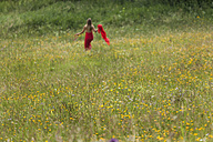 Field of flowers with woman in red dress in the background - TCF004769