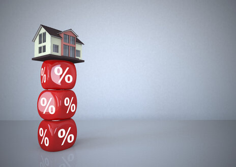 Residential house standing on percentage sign cubes, 3d illustration - ALF000583