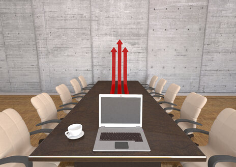 Meeting room with table, chairs, laptop and red arrows, 3d illustration - ALF000586