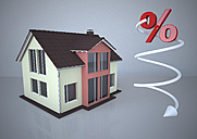 Residential house with falling percentage sign, 3d illustration - ALF000589