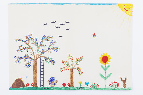 Child's drawing, Garden, plum tree, flowers - GWF004352