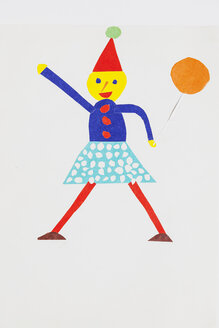 Bricolage, harlequin and ballon, colorful, clued shapes on paper - GWF004355