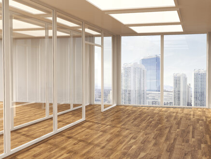 Empty conference room with parquet and glass partitions, 3D Rendering - UWF000584