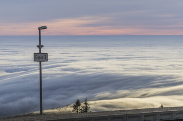 Germany, Saxony-Anhalt, Harz National Park, atmospheric inversion at Brocken in the morning - PVCF000494