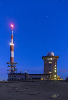 Germany, Saxony-Anhalt, Harz National Park, starry sky over Brocken Plateau in the morning - PVCF000498