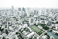 Japan, Tokyo, cityscape with soccer field - FL001170