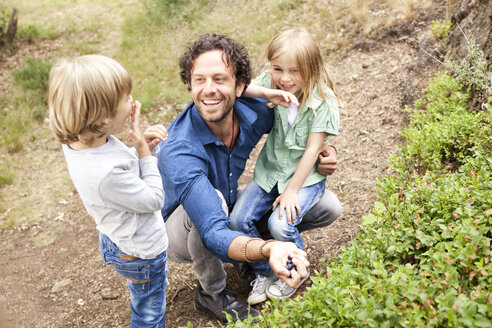 Father with two children collecting blueberries in the nature - MFRF000278