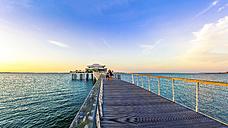 Germany, Niendorf, view to sea bridge with tea house - PU000413