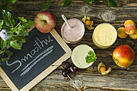 Cherry smoothie, apricot peach smoothie, parsley mint smoothie and fruits - ODF001187