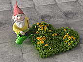 Garden gnome watering heart-shaped meadow with dandelions, 3D Rendering - AHUF000035