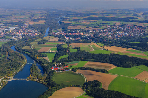 Germany, Bavaria, aerial view of Landau an der Isar and river Isar - PEDF000064