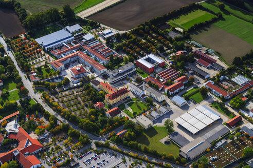 Germany, Bavaria, aerial view of Landshut, Schoenbrunn, academy of Landshut - PED000070