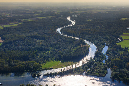Germany, Bavaria, Deggendorf, Danube river, Isar river mouth, alluvial forest, aerial view - PEDF000078