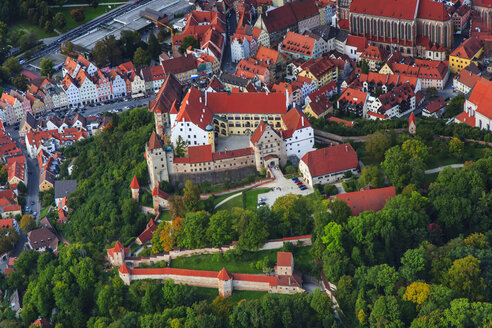 Germany, Bavaria, aerial view of Landshut and Trausnitz Castle - PEDF000007