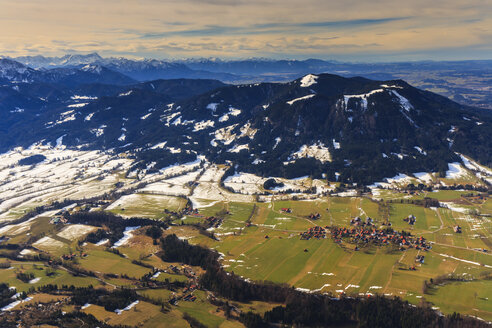 Germany, Bavaria, aerial view of Isarwinkel, river Isar, Bad Toelz, Zugspitze and the Alps - PEDF000091