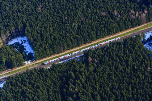 Germany, Bavaria, Holzkirchen, aerial view of a train - PED000037