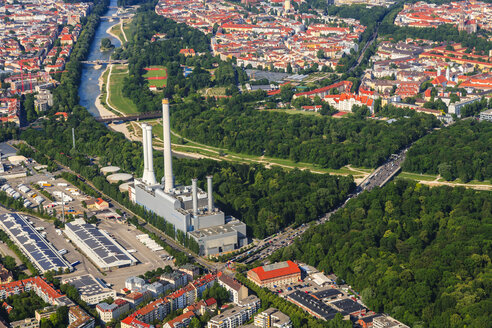 Germany, Bavaria, Munich, Sendling heating plant at Isar river - PEDF000140