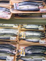 Japan, packaged fish in supermarket - FL001221
